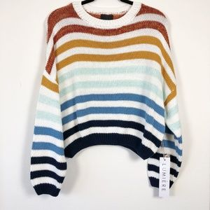 NWT Lumiere Oversized Color Block Stripe Sweater L